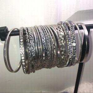 Charming Charlie silver bangle set 20 piece pc